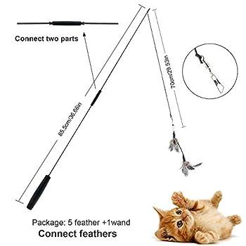 Czoele Cat Teaser Wand,Jouet à Plumes pour Chats, Interactif Canne a Peche Jouet avec 5 Rechanges,Lui Faire Faire de l'exercice pour Chats et Chatons (Noir Handle)