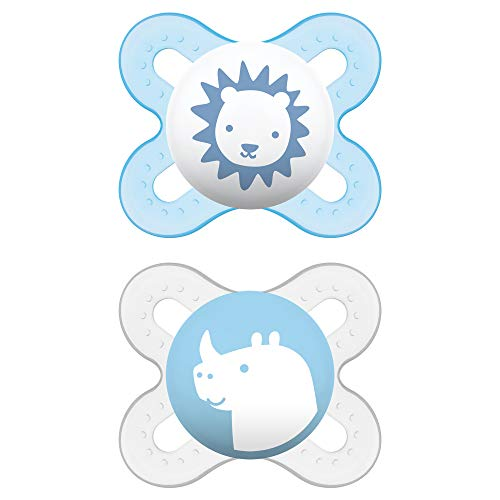 MAM Start Newborn Pacifiers (2 pack, 1 Sterilizing Pacifier Case), Newborn Baby Boy Pacifiers, Best Pacifier for Breastfed Babies, Self Sterilizing Baby Pacifier Case