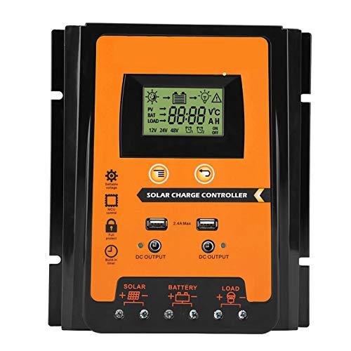 fuwinkr Controlador De Carga Solar 12V / 24V 30A50A, Regulador De BateríA De Panel Solar USB Dual con Pantalla LCD, Voltaje del Sistema De IdentificacióN AutomáTica, Modo De Carga De 3 Etapas(70A)