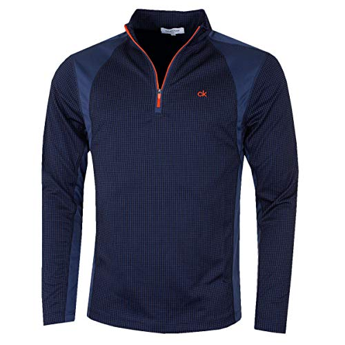 Calvin Klein Golf Mens Micro Grid Layering Mid Layer - Navy/Orange - XL