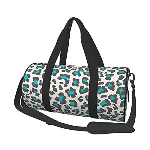 Bolsa de deporte para gimnasio, diseño de leopardo, redondo, ligera, plegable, con compartimento para zapatos y bolsillo para hombres