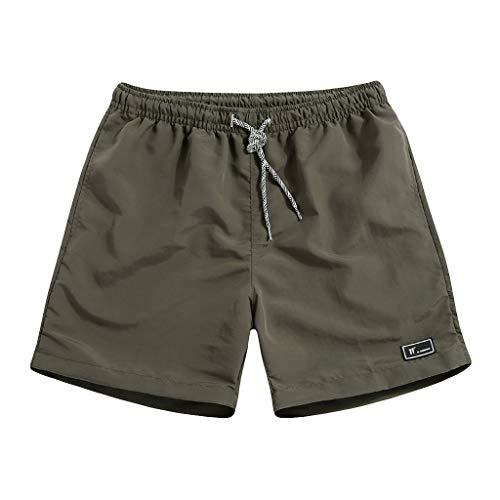 Fashion Casual Men Bodybuilding Beach Pants Swimming Pool Trunks Shorts(Army Green,2XL)