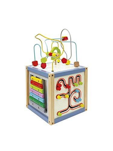 Wood'n'Play – Cubo multiactividad de madera, juguetes educativos multiusos para niños, con xilófono, balonero, pizarra para dibujar, laberinto formas, centro de actividades con juegos para niñ