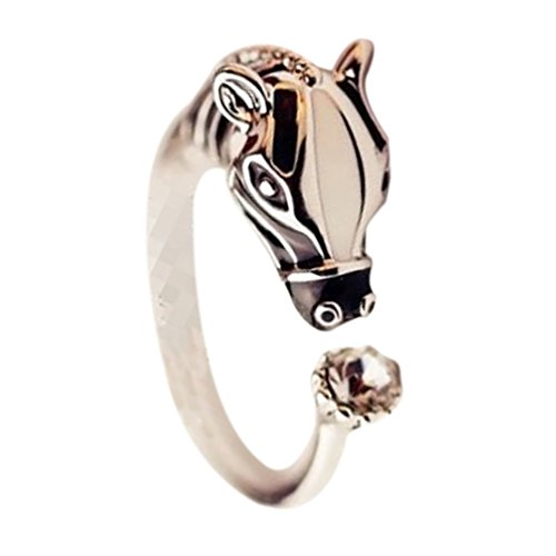 Ameesi Anillo para mujer con cabeza de caballo y diamantes de imitación ajustables, abierto