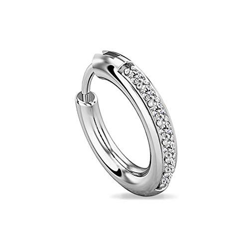 Piercing para la Nariz con circonita cúbica de Diamante escocés de 7 Piedras y Oro Blanco de 14 Quilates (Calibre 20).