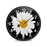 ALAZA Chamomile Daisy Flower Ladybug Wall Clock Battery Operated Silent Non Ticking Clocks for Living Room Decor 12 Inch / 9.5 Inch