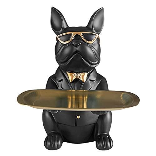 French Bulldog Statue Home Decor, Storage Tray Coin Bank Entrance Key Snack Holder Art Dog Statue, Home Garden Bar Decor Desktop Ornament