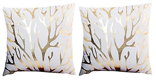 2 kussenslopen vierkant kussen - sierkussen - 44 x 44 cm - bank - linnen - huis - bed - fantasie - slaapkamer - hert - hoorns - rendier - eland - boom - takken - wit - goud bedrukt