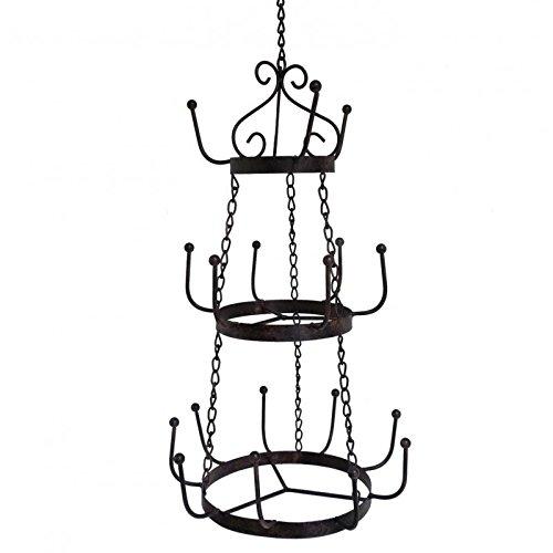 L'Héritier Du Temps kroonluchter voor kopjes 18 haken of gebruiksvoorwerpen houder, 3 etages, brocant, rond, van ijzer, gepatineerd, bruin, 29,5 x 29,5 x 74 cm