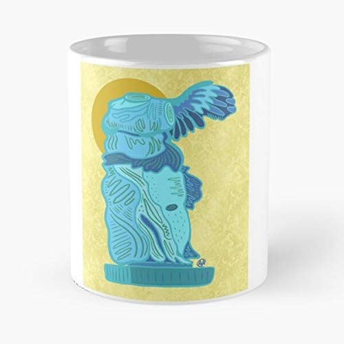 Statue Plus Victory Blue Fat Positive Size Winged Liberation Yellow Eat Food Bite John Best Taza de café de cerámica de 325 ml