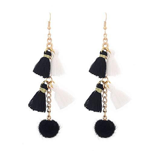 BLINGBRY Fashion Etnische Gypsy Boheemse Lange Drop Oorbellen Voor Vrouwen Gouden Ketting Pompon Fringe Oorbellen Fijne Sieraden femme