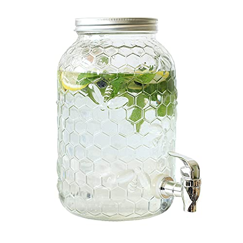 FEXINT Dispensador de bebidas de vidrio dispensador de bebidas frías con espita divertida fiesta entretenimiento hogar cristalería agua para jugo cerveza Punch bebidas frías heladas