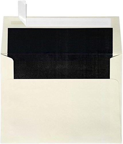 A7 Foil Lined Invitation Envelopes w/Peel & Press (5 1/4 x 7 1/4) - Natural w/Black LUX Lining (50 Qty.)