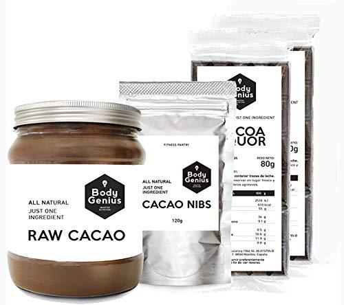 BODY GENIUS Pack Cacao Puro. Cacao Puro en Polvo + 2 x Cacao en Tableta + Nibs de Cacao. Sin Azúcar y Sin Edulcorantes. Vegano e Ideal para Cocinar con Chocolate. Hecho en España.
