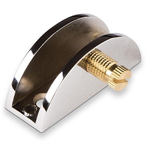 SO-TECH® Glasbodenträger Klemm-Tablarträger Regalträger BLUNA aus Metall | für Tablardicke 5-10 mm | Bodenträger in chrom | DESIGN trifft auf FUNKTION
