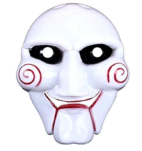 Maschera Saw l' Enigmista per Costume - Travestimento - Carnevale - Halloween - Assassino - Colore Bianco - Adulti - Uomo - Ragazzo - Idea Regalo per Natale e Compleanno