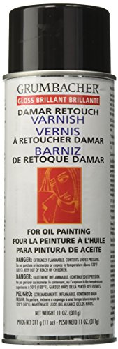 Grumbacher Damar Retouch Gloss Varnish Spray for Oil Paintings, 11 oz. Can, #544