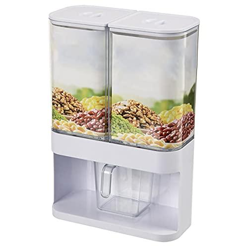 Eteng Dispensador De Cereales con Taza Medidora 2 Dispensadores De Muesli Dispensador De Snacks Muy Adecuado para Almacenar Cereales, Frutos Secos Y Frijoles