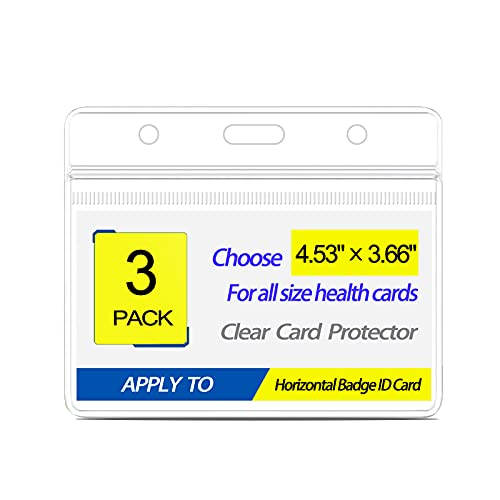 3 Pack-CDC Vaccination Card Protector 4 X 3 Inches, Waterproof Vaccination Card Holder for Vaccine Immunization Record, Clear Plastic ID Name Card Badge Holder Sleeve with Resealable Zip