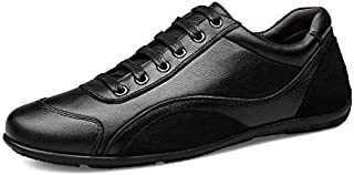 FYXKHH Men's Business Casual Genuine Leather Shoes lace-up Round-Toe Shoes British Fashion Sewing Thread Low-top Shoes