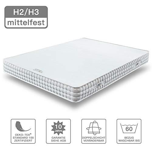 BedStory Matratze 140 x 200 cm 18cm, 7-Zonen-Kaltschaummatratze Orthopädische Matratze, 2 in 1 Liegehärten H2&H3 mittelfest Weiß