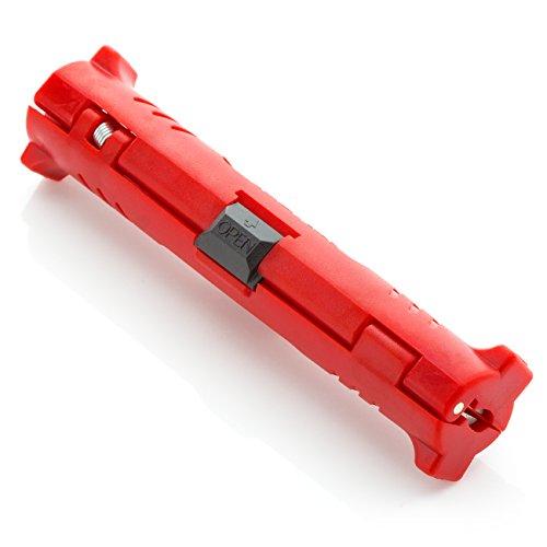 deleyCON Pelacables para Cable Coaxial Universal para Todos los Cables de Antena Sat Cable Herramienta de Pelado Rojo 1 Pieza