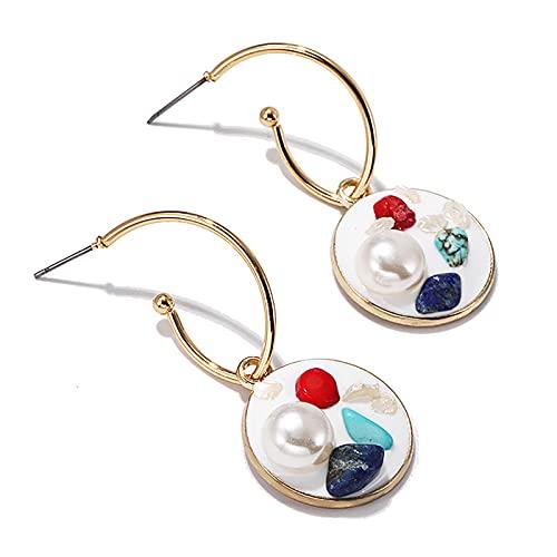 1 pieza de pendientes para niñas con incrustaciones de piedra de perla de personalidad con forma redonda
