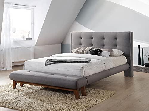 SomProduct The Sophie Grey by Cadar | Cama tapizada de madera | Base de madera | Soportes de colchón de madera | Cama de plataforma | Cabecero acolchado | 180 x 200 cm