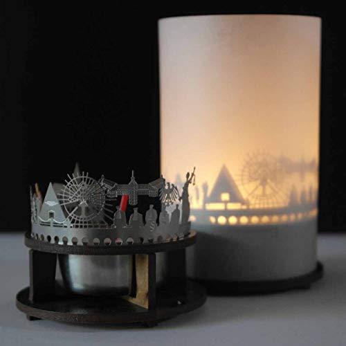 Karlsruhe-Skyline Windlicht Schattenspiel Premium Geschenk-Box Souvenir, inkl. Kerzenhalter, Kerze, Projektionsschirm & Teelicht