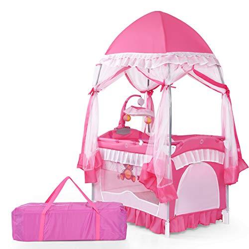 DREAMADE Babybett Mädchen, Baby Stubenwagen mit Rollen, Babywiege Babyschaukel Klappbar, Reisebett Kinderbett Baby-Reisebett Kinderreisebett, Rosa