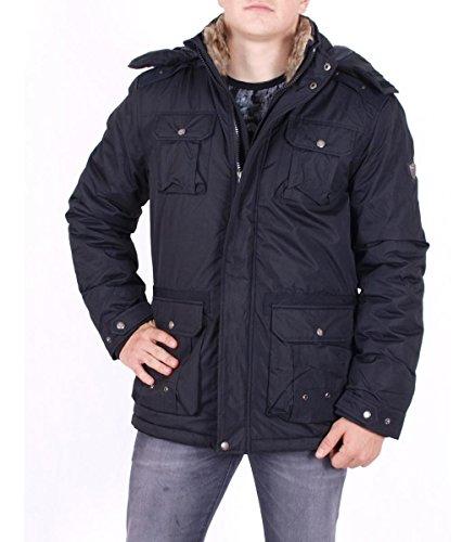 Hailys Herren Jacke Winterjacke mit Fellkragen und Kapuze Hoodie, schwarz, Größe:L