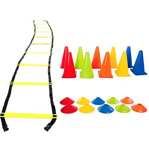 Kit Funcional Escada Agilidade Cones Chapéu Chinês Yangfit
