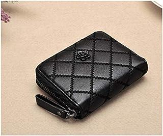 Fashion Leather Coin Purses For Women Black Argyle Mini Wallets Stylish Flower Decor Change Case