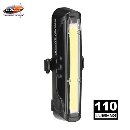 Cygolite Hotrod Front– 110 Lumen Bike Light– 3 Night & 3 Daytime Modes– Sleek Durable Design –IP64 Water Resistant– Sturdy Flexible Mount– USB Rechargeable Front Light– for Road & Commuter Bicycles