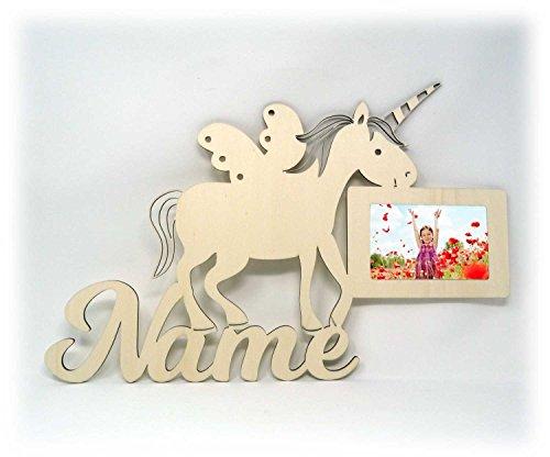 Wand Bilderrahmen Einhorn Sachen Design mit Name zur Einschulung Deko Geschenke für das Mädchen Kinderzimmer 10x15 cm