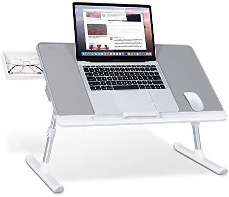 Laptop Bed Tray Table SAIJI Adjustable PVC Leather Laptop Bed Table Portable Standing Desk with product image