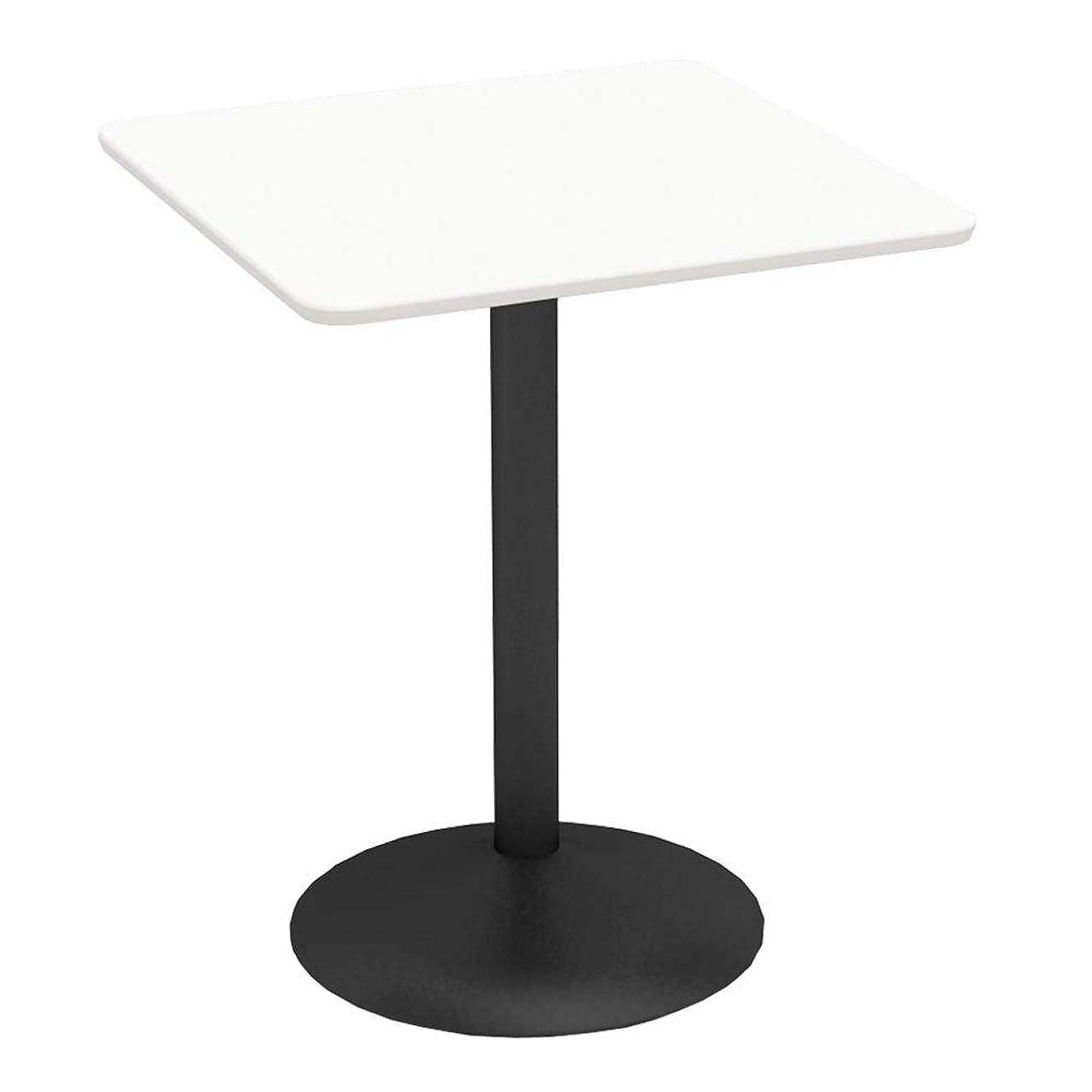 タッチ委員会閲覧するカフェテーブル 600□天板 スチール脚ブラック軽量 ホワイト木目