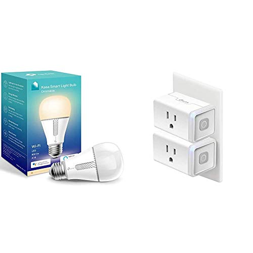 Kasa Smart Light Bulb & Smart Plug, WiFi Outlet Compatible with Alexa, Echo and Google Home, No Hub Required, Remote Control, 12 Amp, UL Certified, 2-Pack (HS103P2)