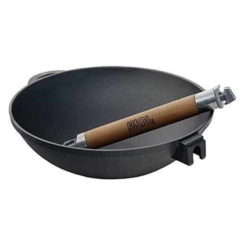 4BIG.fun Wok Bratpfanne 24cm 2L aus Gusseisen mit abnehmbarer Griff Outdoor Stielpfanne Camping Kochgeschirr