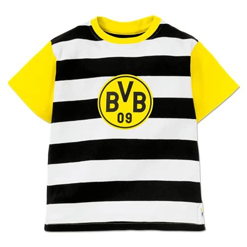 Borussia Dortmund Unisex Baby BVB Streifen Kleinkind T-Shirt-Satz, schwarz, 74/80