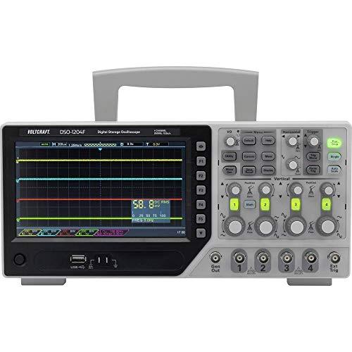 VOLTCRAFT Osciloscopio digital DSO-1204F, 200 MHz, 4 canales, 1 GSa/s, 64 kpts, memoria digital de 8 bits (DSO), generador de funciones