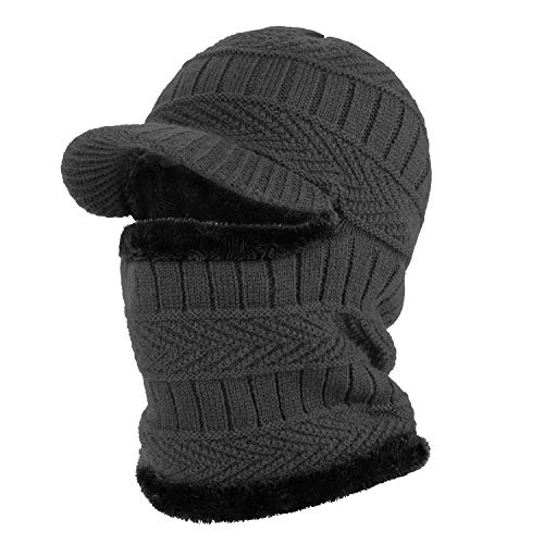 TAGVO Winter Unisex Knitted Balaclava Face Mask Cover Thick Warm Fleece Lining Beanies Hat Elastic Neck Warmer, Windproof Thermal Skiing Mask for Adults Outdoor Sports