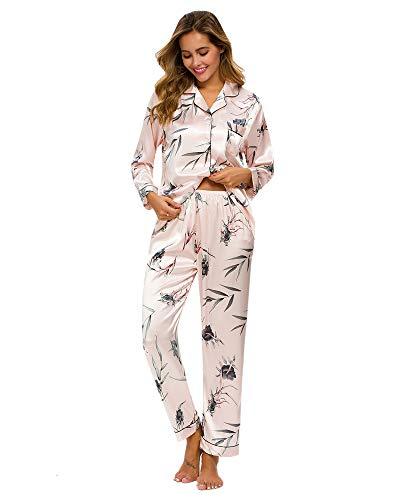 GOSO Pijama de satén para Mujer con Botones de Seda Floral de Manga Larga y Pantalones Ropa de Dormir para Mujer Conjuntos de salón Suave