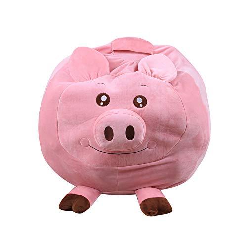 DTLEO Tierform Kinder Spielzeug Aufbewharungstasche Sitzsack Kinder Kuscheltier Aufbewahrungstasche (ohne Füllstoff),Little Pig