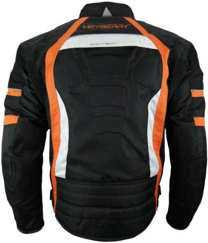 Heyberry Textil Motorrad Jacke Motorradjacke Schwarz Orange Gr. M - 3