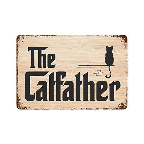 Knowikonwn Placa de metal esmaltada, personalizable, con texto en inglés 'The Cat Father', para decoración de pared, color blanco, 30 x 20 cm