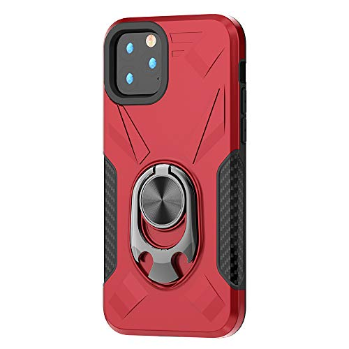 RANYOK Compatible iPhone 11 Pro Max Ring Kickstand Case, Dual Layer Armor Rugged Shockproof Protection Fit Car Magnetic Beers Bottle Opener Stand Design Hard Back Cover case (6.5 inch) (Red)