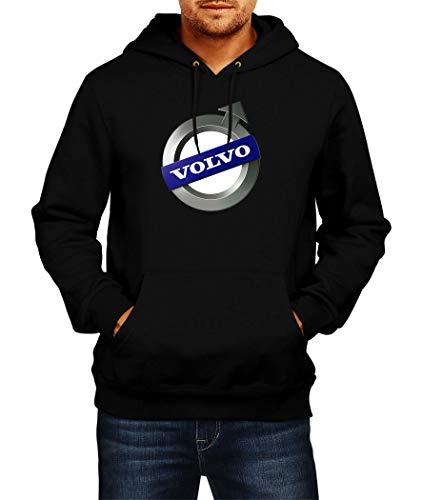 Sweats à Capuche Volvo Logo Hoodie Homme Men Car Auto Tee Black Grey Noir Gris Long Sleeves Manches Longues Present Christmas (XL, Black)