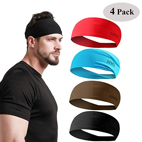 DEMIL Mens Headbands 2Pack 4Pack Guys Sweatband & Sports Headband Moisture Wicking Workout Sweatbands for Running, Cross Training, Yoga and Bike Helmet Friendly (4pcs-red+Blue+Army Green+Black)