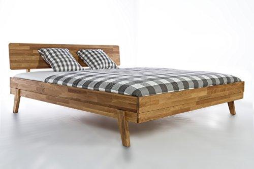 Holzwerk - Letto in legno massiccio Milano, letto matrimoniale, 140/160/180/200, in legno di rovere massiccio